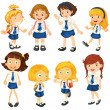 Eight schoolgirls in their uniforms — Imagen vectorial