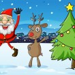 Santa and a deer beside the christmas tree — Imagen vectorial