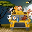 Stock Vector: A bus near the trees full of animals