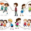 Children playing skipping rope — Stock Vector