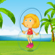 A girl playing skipping rope at the riverside — Stock Vector