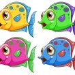Four colorful fishes — Stock Vector