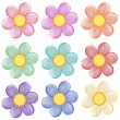 Nine colorful flowers — Imagen vectorial