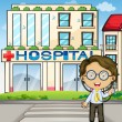 A doctor in front of the hospital — Stock Vector