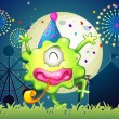 A happy one-eyed monster at the carnival with a firework display — Stock Vector