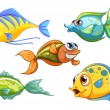 Five colorful fishes — Stock Vector