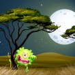 A scared one-eyed monster under the fullmoon — Stock Vector