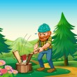 A hardworking woodman chopping the wood near the garden at the h — Stock Vector
