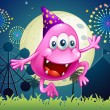 Happy pink beanie monster at carnival — стоковый вектор #35714577