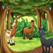 A forest with three smiling horses — Stock Vector