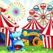 A blue monster near the circus tents — Stock Vector