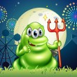 A death monster at the carnival with a firework display — Stock Vector
