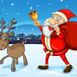 Santa and his deer walking — Stock Vector