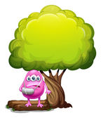 An injured pink beanie monster standing under the giant tree — Stockvector
