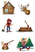 A life of a lumberjack — Stock Vector