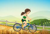 A girl biking at the farm — Stock Vector