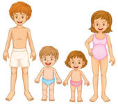 A family in their swimming attire — Stock Vector