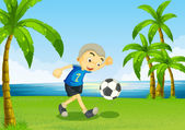 A young soccer player at the riverside with palm trees — Stock Vector