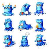 Nine blue monsters — Stock Vector