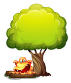A scary orange monster under the tree — Stock Vector