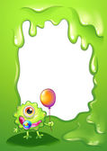 A baby monster with a balloon in front of the empty template — Stock Vector
