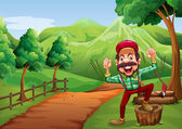 A cheerful woodman near the pathway going to the hill — Stock Vector