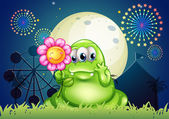 A fat green monster holding a flower at the carnival with a fire — Stock Vector