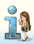 A business person beside the number one figure with buildings — Stock Vector