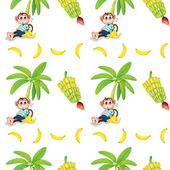 Seamless design with monkeys and bananas — Stock Vector