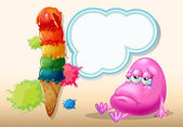 A sad beanie monster near the giant icecream — Wektor stockowy