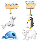 Signboards, animals and an igloo at the north pole — Stock Vector