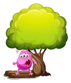 An angry beanie monster under the big tree — Stock Vector