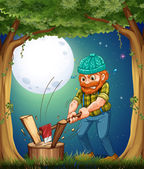 A forest with a hardworking woodman chopping woods — Stock Vector