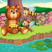 A big bear and bees at the riverbank — Stock Vector