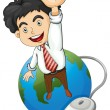 A happy businessman standing above the globe — Stock Vector