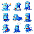 Nine blue monsters — Stock Vector #38129175