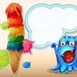 A cheerful blue monster near the colorful giant icecream — Stock Vector