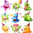 Happy monsters celebrating a birthday — Stock Vector #38129427