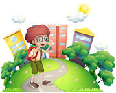 A schoolboy waving while walking at the road — Stockvector