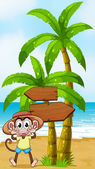 A monkey at the seashore near the wooden arrowboard — Stock Vector