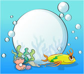 A yellow fish at the ocean near the pearls — Stock Vector