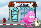 A pink beanie monster and a pet in front of the pet shop — Stock vektor