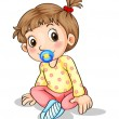 Stock Vector: Toddler with pacifier