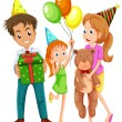 Stock Vector: Happy family celebrating birthday