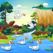 Stock Vector: Group of ducks at river in forest