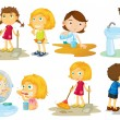 Kids engaging in different activities — Stock Vector