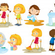 Stock Vector: Kids engaging in different activities