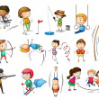 Stock Vector: Kids engaging in different sports
