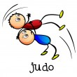 Stock Vector: Stickmen doing judo