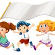 Three kids running with an empty banner — Stock Vector
